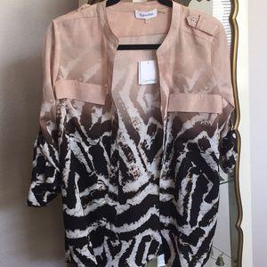 Calvin Klein button down zebra print blouse.